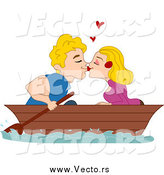 Vector of a Blond White Couple Kissing in a Boat by BNP Design Studio