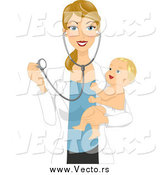 December 23rd, 2014: Vector of a Blond White Female Pediatric Doctor Holding a Happy Baby and Stethoscope by BNP Design Studio