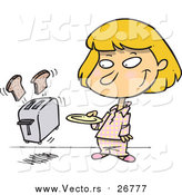 Vector of a Blond White Girl Holding a Plate to Catch Bread Coming out of a Toaster by Toonaday
