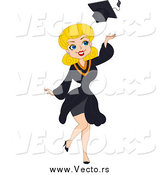 Vector of a Blond White Graduation Pinup Woman Tossing Her Cap by BNP Design Studio