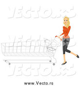 Vector of a Blond White Shopping Woman Pushing a Long Cart by BNP Design Studio