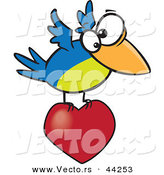 Vector of a Blue and Green Cartoon Bird Flying with a Love Heart by Toonaday