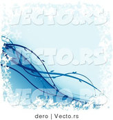 Vector of a Blue Background with Diagonal Vines and Grunge Border by Dero