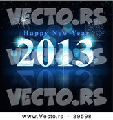 Vector of a Blue Happy New Year 2013 with Fireworks in Background by Dero