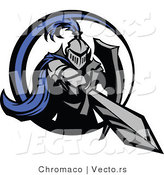 Vector of a Blue Knight Stabbing Forward with Double-Edge Sword by Chromaco