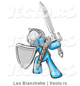 Vector of a Blue Knight with Shield and Sword Standing in Battle Mode by Leo Blanchette