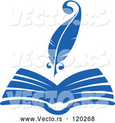 Vector of a Blue Quill Pen over Open Book by Vector Tradition SM