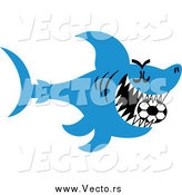 Vector of a Blue Shark Swimming with a Soccer Ball in His Mouth by Zooco