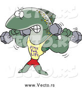 Vector of a Bodybuilding Fish Lifting Weights and Wearing a Fish for Life Shirt by Ron Leishman