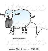 Vector of a Bouncing Cartoon Sheep by Toonaday