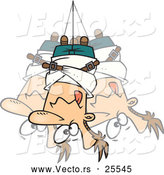 Vector of a Bound Cartoon Man Hanging Upside down from a Rope in a Straitjacket by Toonaday