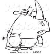 Vector of a Boxer Rhino with One Eye Swollen Shut - Black Outline Cartoon Style by Ron Leishman