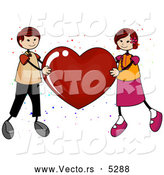 Vector of a Boy and Girl Holding up a Love Red Heart by BNP Design Studio