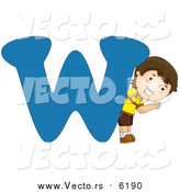 August 25th, 2017: Vector of a Boy Beside Alphabet Letter W by BNP Design Studio