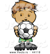 Vector of a Boy Holding Soccer Ball - Cartoon Style by Chromaco