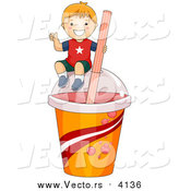 Vector of a Boy on a Giant Slushy Cup by BNP Design Studio