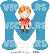 August 25th, 2017: Vector of a Boy Sitting on Alphabet Letter M by BNP Design Studio