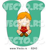 August 25th, 2017: Vector of a Boy Sitting on Alphabet Letter U by BNP Design Studio