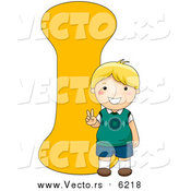 August 25th, 2017: Vector of a Boy Smiling Beside Alphabet Letter I by BNP Design Studio