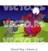 Vector of a Brave Knight Battling Red Dragon by David Rey