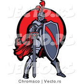 Vector of a Brave Knight Standing with Shield and Sword by Chromaco