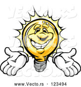 Vector of a Bright Cartoon Light Bulb Mascot Holding Arms out by Chromaco