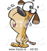 Vector of a Brown Cartoon Dog Crying by Toonaday