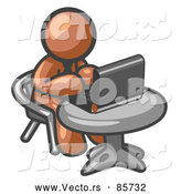 December 30th, 2017: Vector of a Brown Character Working on Laptop at Table by Leo Blanchette
