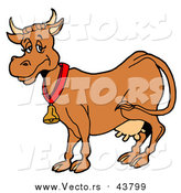 April 27th, 2016: Vector of a Brown Dairy Cow with Full Udders, Wearing a Bell Around Its Neck by LaffToon