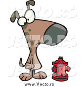 Vector of a Brown Dog Looking at an Undersized Fire Hydrant by Ron Leishman