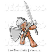 Vector of a Brown Knight with Shield and Sword Standing in Battle Mode by Leo Blanchette