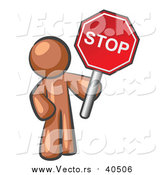 Vector of a Brown Man Holding a Red Stop Sign by Leo Blanchette