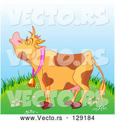 Vector of a Brown Spotted Cartoon Farm Cow Mooing on a Green Grassy Hill by Pushkin