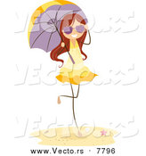 Vector of a Brunette Beach Stick Girl with a Parasol by BNP Design Studio