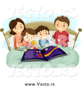 Vector of a Brunette Caucasian Mother Reading an Astronomy Book to Her Kids at Bed Time by BNP Design Studio
