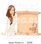 Vector of a Brunette Caucasian Scorpio Woman Holding a Scroll Sign by BNP Design Studio