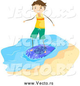 Vector of a Brunette Stick Boy Skimboarding by BNP Design Studio