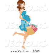 Vector of a Brunette White Pregnant Woman Kicking Back a Leg and Carrying Colorful Shopping Bags by BNP Design Studio