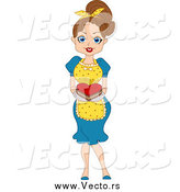 Vector of a Brunette Woman Serving a Valentine Heart Cake by BNP Design Studio