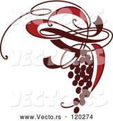 Vector of a Bunch of Ornate Red Grapes by Elena