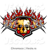 Vector of a Buring Skull over Metallic Badge by Chromaco