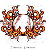 Vector of a Burning Baseball Within Fire and Flames by Chromaco