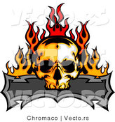 Vector of a Burning Skull over Blank Banner by Chromaco