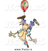 Vector of a Business Man Being Carried Away by a Red Inflation Balloon by Toonaday