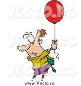 Vector of a Business Man Getting Carried with a Red Balloon by Toonaday
