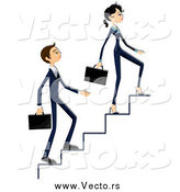 Vector of a Business Woman and Man Climbing up Stairs by BNP Design Studio