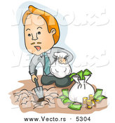 Vector of a Business-Man Burying Bags of Money in the Ground - Cartoon Style by BNP Design Studio