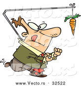 August 20th, 2016: Vector of a Business-Man Chasing Carrot Concept - Cartoon Style by Ron Leishman