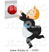 Vector of a Businessman Running to Push a Red Panic Button - Cartoon Style by BNP Design Studio