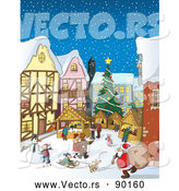 Vector of a Bustling Christmas Market with Santa and Winter Scene by Holger Bogen